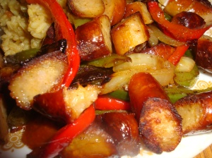 Onions, peppers and sausage