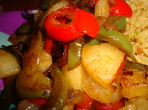 Onion, peppers and pineapple