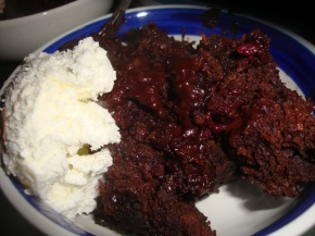 Slow Cooker Self Saucing Chocolate Berry Pudding
