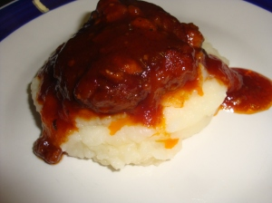 Kansas City Barbecue Sauce, on a Cheese Stuffed Meatball with creamed potato