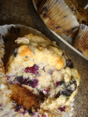 Easy, moist banana and blueberry muffins