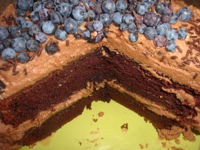 """One Bowl"" Chocolate Cake with Chocolate Buttercream Frosting and Blueberries"